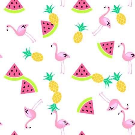sin patrón blanco trópico verano con sandía, flamenco y piñas. Modelo rosado y amarillo de la diversión.
