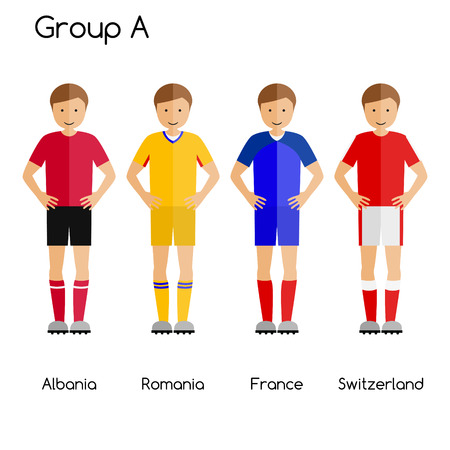 first form: Football team players. Group A - Albania, Romania, France and Switzerland. National football team vector uniforms.