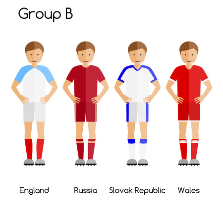 first form: Football team players. Group B - England, Russia, Slovak Republic and Wales. National football team vector uniforms.