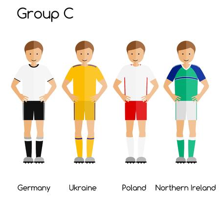 northern ireland: Football team players. Group C - Germany, Ukraine, Poland and Northern Ireland. National football team vector uniforms.