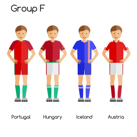 Football team players. Group F - Portugal, Hungary, Iceland and Austria. National football team vector uniforms.