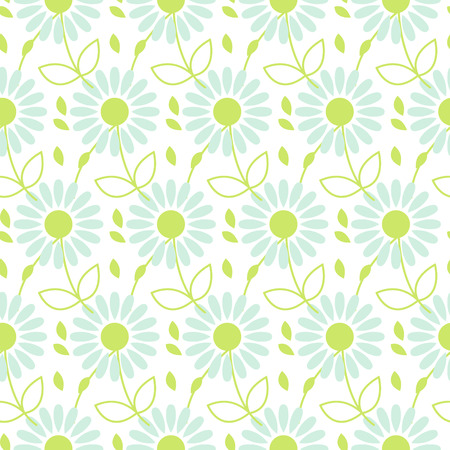 Daisy chamomile vector seamless pattern. Blue camomile floral and leaves background for wrapping, textile or linen. Illustration