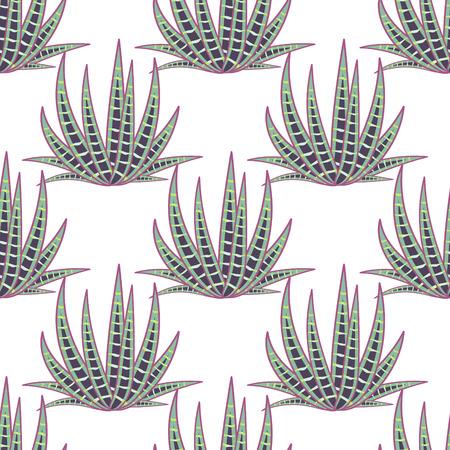 agave: Agave succulent desert seamless pattern. Green botany aloe vera plantation vector background. Illustration
