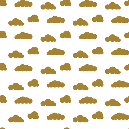 dense: Golden clouds vector seamless pattern. Dense sky print for textile. Room decor stickers for wall, furniture, surfaces. Illustration