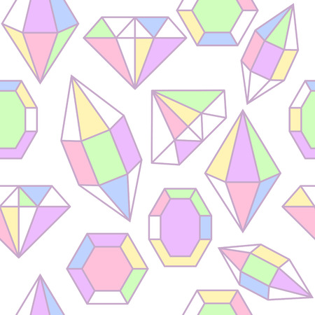 facet: Diamond gem shape holographic facet seamless pattern. Diamond geometric outline objects.