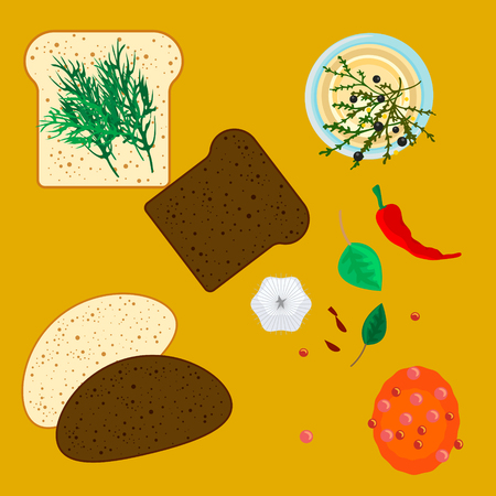garlic bread: Wheat and rye slices of bread with spice, garlic and herbs. Toast cooking process and ingredients.