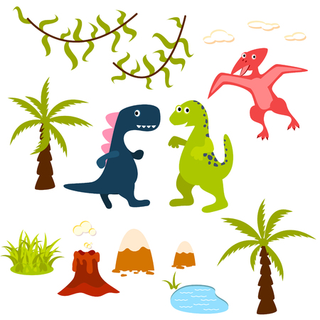 liana: Dinosaur and jungle tree clipart set. Pterodactyl, t-rex, brontosaurus, palm, lake, liana and volcano. Dino clip-art for kids.