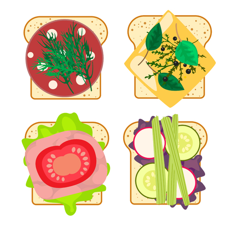 Sandwich set isolated vector illustration. White toasted bread with ham, vegetables and cheese. Fast food snack.  イラスト・ベクター素材