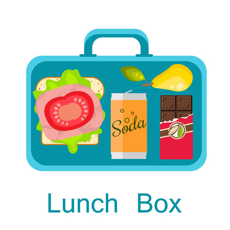 lunchtime: Lunch box vector. Lunch bag with sandwich, soda, chocolate and pear. Snack pack for student. Illustration
