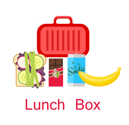 open sandwich: Lunch box vector. Lunch bag with sandwich, soda, chocolate and banana.