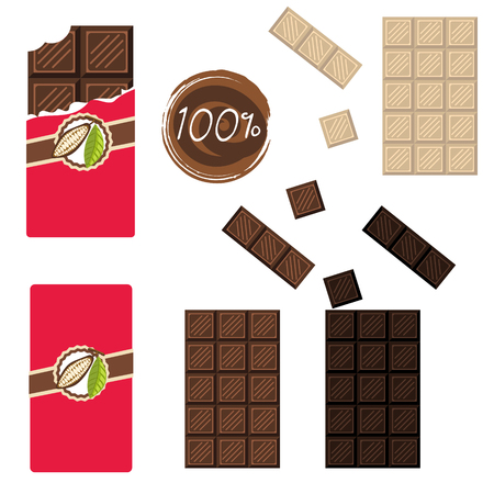 sealed: Bar of chocolate set. Sealed and open wrap. Milk, white and darc cocoa chocolate square.