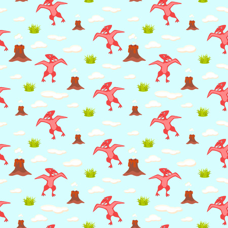 pterodactyl: Pterodactyl kid seamless vector pattern for textile print. Red happy cartoon dino reptile with clouds and volcano on blue. Baby fabric pattern.