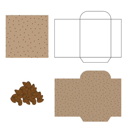 flax seed: Flax seeds packaging design kit. Recycled paper pack template. Pile of flax seeds and pattern for wrap.