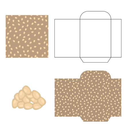 pumpkin seeds: Pumpkin seeds packaging design kit. Recycled paper pack template. Pile of pumpkin seeds and pattern for wrap.