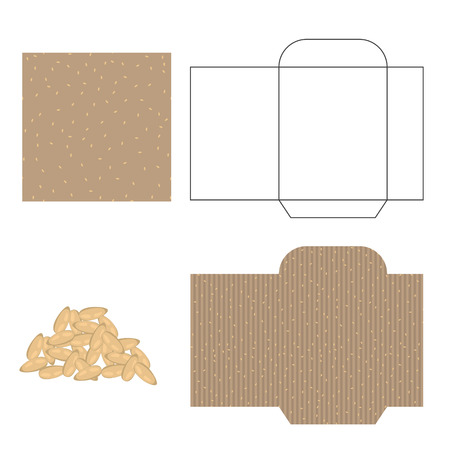 sesame seeds: Sesame seeds packaging design kit. Recycled paper pack template. Pile of sesame seeds and pattern for wrap.