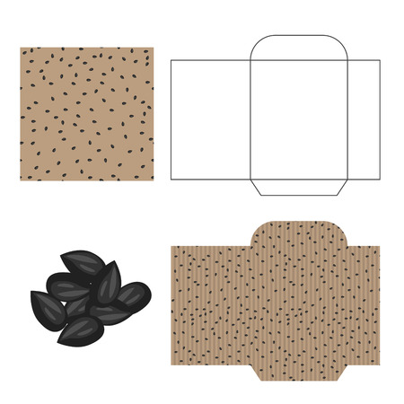 sunflower seeds: Sunflower  seeds packaging design kit. Recycled paper pack template. Pile of sunflower  seeds and pattern for wrap.