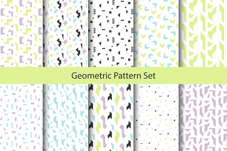 nineties: Abstract geometric shapes white pattern set. Vintage geometry inspired seamless pack lilac, green and blue on white. Illustration