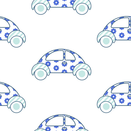 juvenile: White and blue fun floral car for shirt and apparel pattern design. Summer light seamless fashion design for swimwear. Illustration