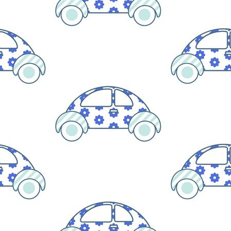 boyish: White and blue fun floral car for shirt and apparel pattern design. Summer light seamless fashion design for swimwear. Illustration