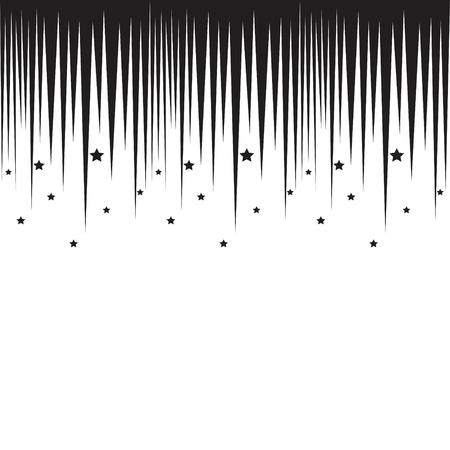 manga style: Falling stars horizontal black border. Repeatable background in manga style. Illustration