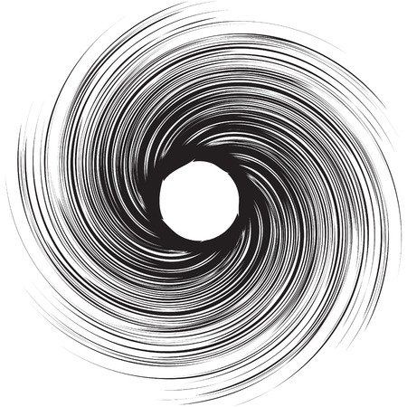 Vortex speed lines background. Storm swirl element in manga or pop art style. Black cosmic hole vortex. Vettoriali