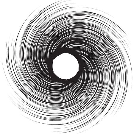Vortex speed lines background. Storm swirl element in manga or pop art style. Black cosmic hole vortex. Ilustração