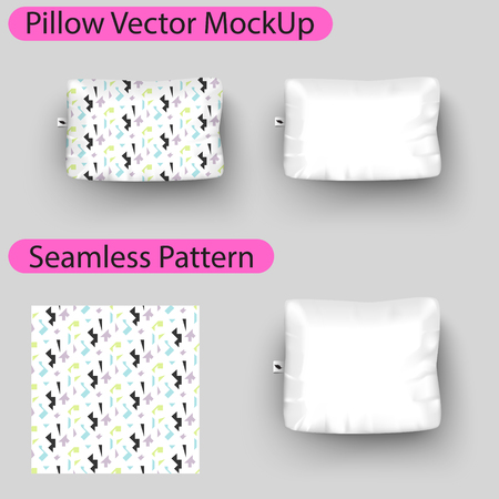 one bedroom: Vector pillow mock up with seamless pattern swatch. Square pillow blank mockup to place design.
