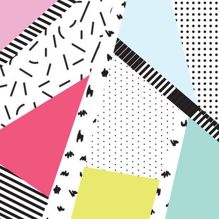 kolorowe bloki Memphis i elementy kreska projektowe tło. Czarno-białe 80s 90s stylu retro. Ilustracje wektorowe