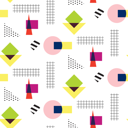 eighties: Memphis retro 80s seamless pattern. Checkered lines, abstract shapes, color blocks and dash dots elements in eighties fashion style. Circles and checkered squares. Illustration
