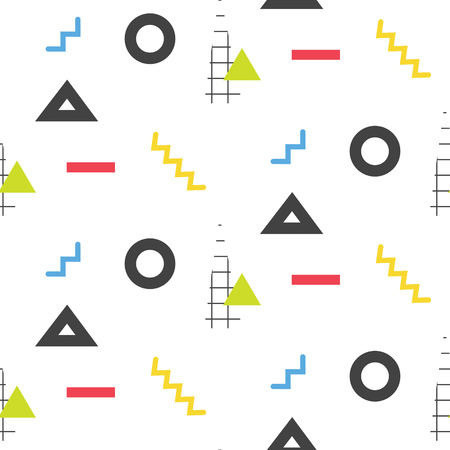 eighties: Memphis retro 80s seamless pattern. Checkered lines, abstract shapes, color blocks and dash dots elements in eighties fashion style. Zigzag lines and triangles on white. Illustration