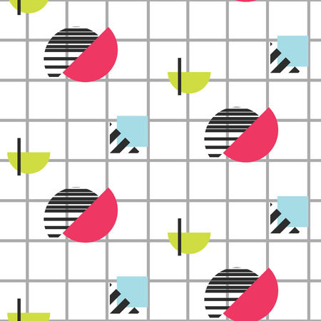 eighties: Memphis retro 80s seamless pattern. Checkered lines, abstract shapes, color blocks and dash dots elements in eighties fashion style. Half colored shapes on checkered background. Illustration