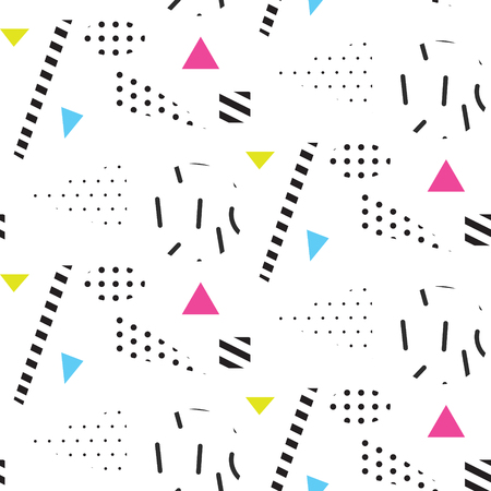 Memphis retro 80s seamless pattern. Checkered lines, abstract shapes, color blocks and dash dots elements in eighties fashion style. Dotted triangles and dashed shapes on white. Çizim