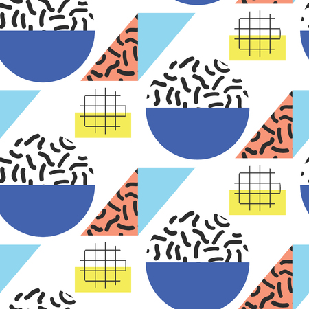 eighties: Memphis retro 80s seamless pattern. Checkered lines, abstract shapes, color blocks and dash dots elements in eighties fashion style. Bold colored semicircles and rhombuses.