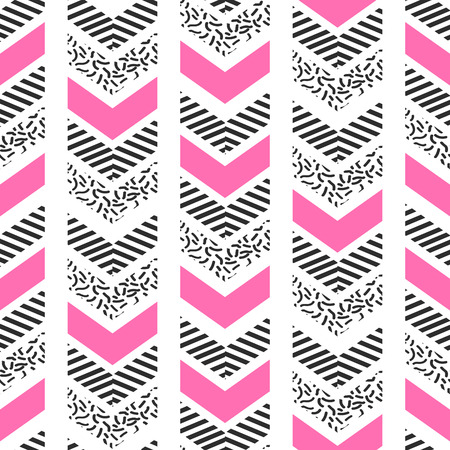 Herringbone abstract seamless pattern in memphis style. pink, black and white arrows in retro 80s design.