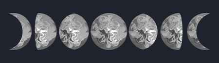 penumbra: Moon cycle phases vector illustration. Grey moon marbled texture shape. Moon phases from full to half.