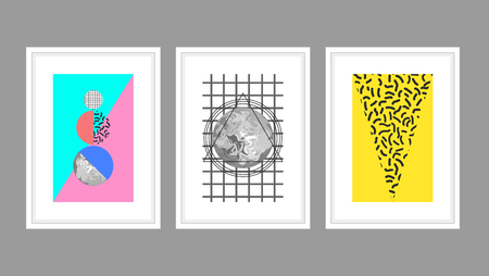 wall decor: Abstract wall art poster vector set in memphis style with geometric shapes. Planets and textured triangles in white A4 frames.
