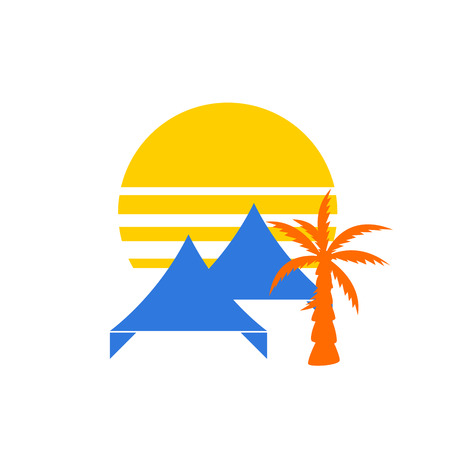 overhang: Event tent concept. Tent or awning with sunset behind and palm tree silhouette for party event company. Illustration