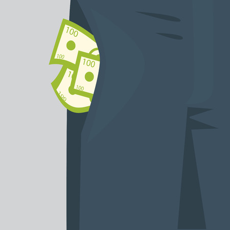 apparel part: Money sticking out of the pocket of mens pants. Rich man concept. Illustration