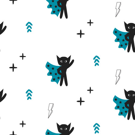 black baby boy: Superhero in blue cape with stars seamless kid pattern. Hero boy in mask black and white pattern for baby textile prints.