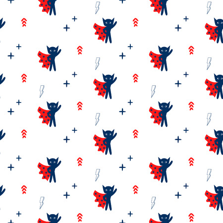 boyish: Superhero in red cape with stars seamless kid pattern. Hero boy in mask red, blue and white pattern for baby textile prints. Illustration