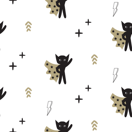 boyish: Superhero in gold cape with lightning stars seamless kid pattern. Hero boy in mask black and white pattern for baby textile prints. Illustration