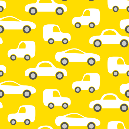boyish: Car cute baby vector seamless pattern. Kid fabric and apparel design. Bright yellow vans vehicles on white.