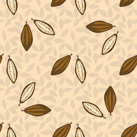 cacao: Cacao beans seamless pattern. Chocolate background. Organic raw cacao beans beige pattern.