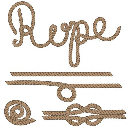 hinge: Twine rope brush, rope knot. Brown string pattern brush, saved in brush panel. Diy twine bows. Illustration
