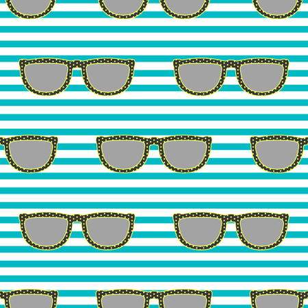 eyewear: Pop sunglasses retro seamless vector pattern in neon yellow and blue colors. Hipster gray eyewear on blue stripe background.