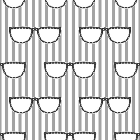 eyewear: Pop sunglasses retro seamless vector pattern in grey and white colors. Hipster eyewear on grey and white stripe background.