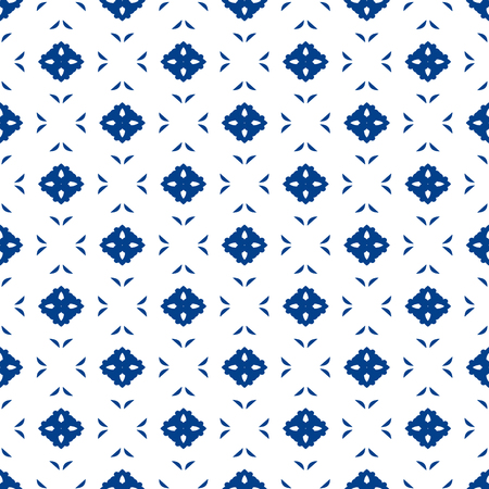 Blue and white moroccan seamless pattern. Oriental abstract motifs. Ceramic or textile geometric pattern tiles.