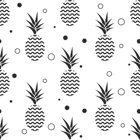 ananas: Pineapple simple vetor seamless background. Textile fabric ananas monochrome grey pattern. Baby simple scandinavian white style apparel and linen design.