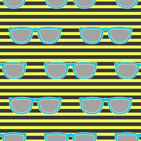 eyewear: Pop sunglasses retro seamless vector pattern in neon yellow and blue colors. Hipster blue eyewear on neon yellow bright and black stripe background.