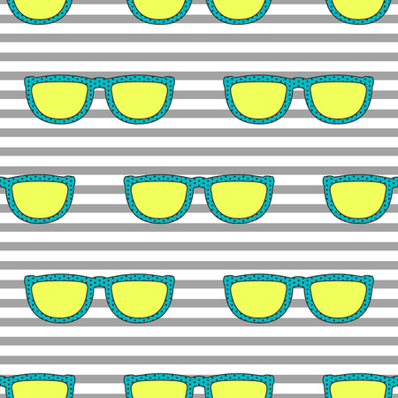 eyewear: Pop sunglasses retro seamless vector pattern in neon yellow and blue colors. Hipster eyewear on grey stripe background. Illustration